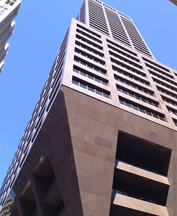 looking up at building