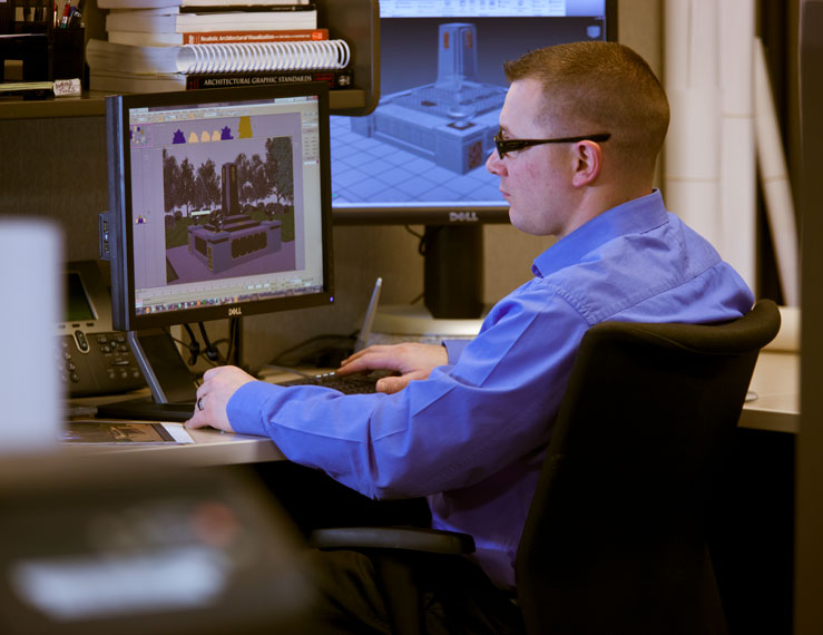 Employee working at computer