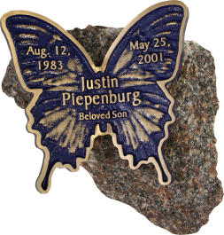 Piepenburg butterfly granite memorial
